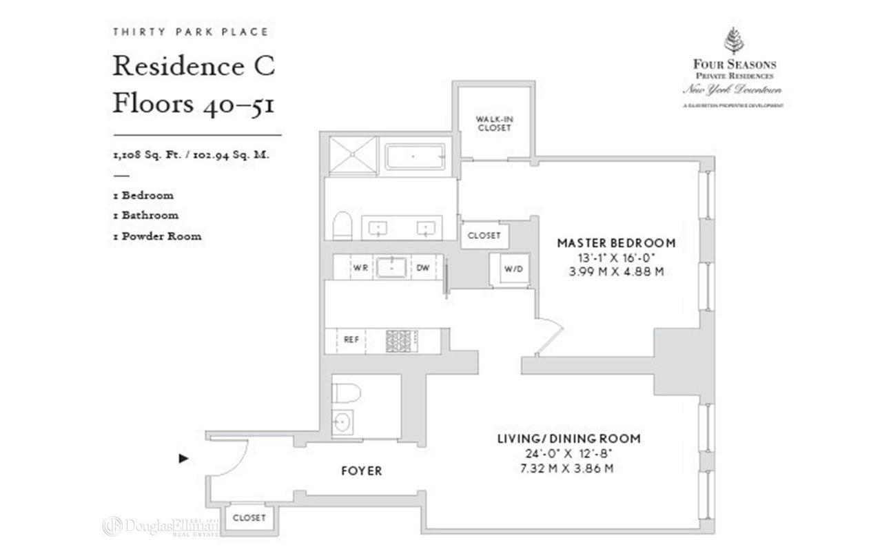 Streeteasy 30 park place in tribeca 43b sales for Park place floor plans
